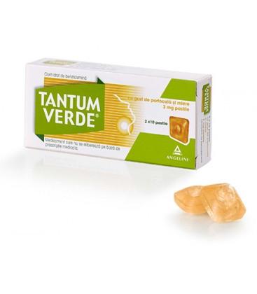 TANTUM VERDE CU GUST DE PORTOCALA SI MIERE 3 mg X 20 PASTILE