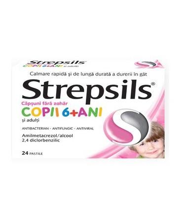 STREPSILS CAPSUNI FARA ZAHAR COPII x 24 PASTILE