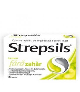STREPSILS LEMON FARA ZAHAR X 24 PASTILE