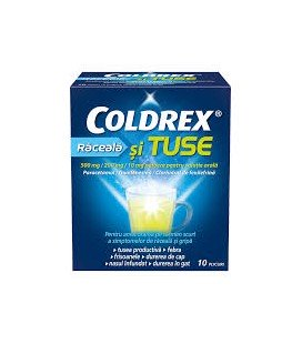 COLDREX RACEALA SI TUSE 500 mg/200 mg/10 mg X 10 PULB. PT. SOL. ORALA