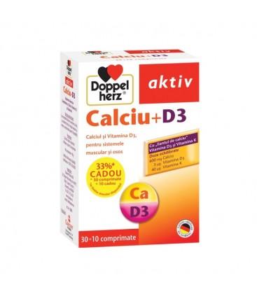 DOPPELHERZ Calciu+D3 x 30 cp + 10 promo