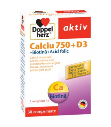 DOPPELHERZ Calcium+vitamina D3+biotin x 30cp