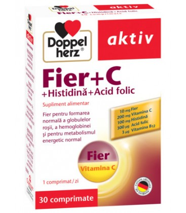 DOPPELHERZ Fe+vitamina C+histidina+acid folic x 30