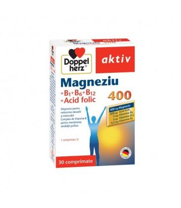 DOPPELHERZ Magneziu 400+Vitamine B1+B6+B12+Ac.folic