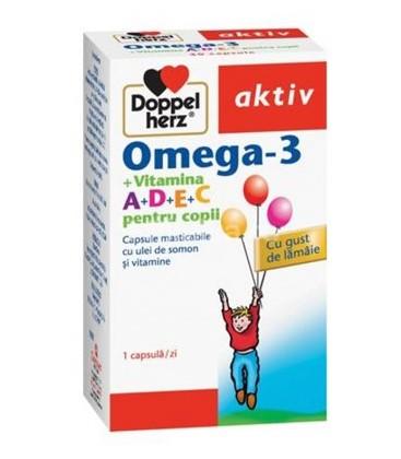 DOPPELHERZ Omega 3+vitamina A+D+E+C copii x 30cps