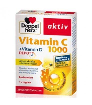 DOPPELHERZ Vitamamina C 1000mg+vitamina D depot x 30cp