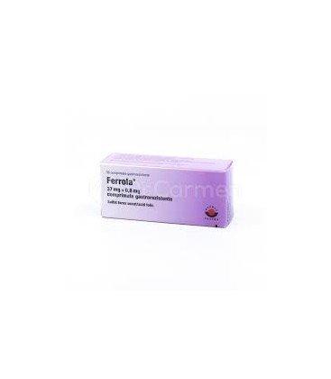 FERROLA 37 mg + 0,8 mg X 30CP COMPR. GASTROREZ.