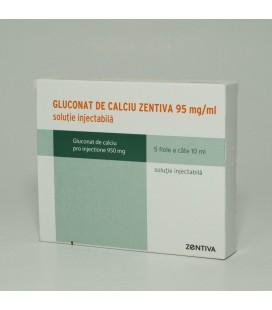 GLUCONAT DE CALCIU ZENTIVA 95 mg/ml X 5 SOL. INJ.