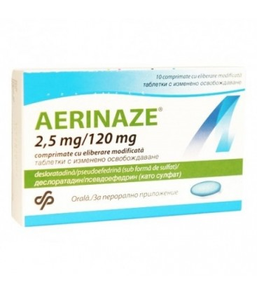 AERINAZE 2,5mg/120mg x 10 COMPR. ELIB. MODIF. 2,5mg/120mg MERCK SHARP   DOHME