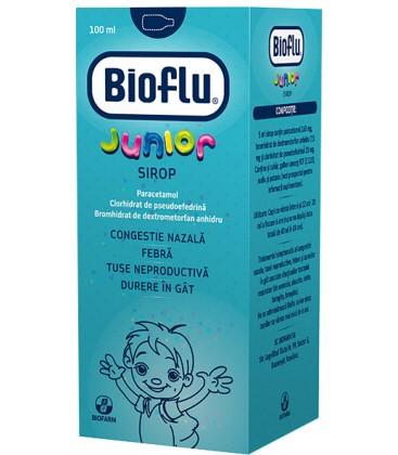 BIOFLU   JUNIOR X 1 SIROP FARA CONCENTRATIE BIOFARM